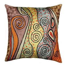 "Klimt Accent Pillow Cover Rainbow Hand Embroidered Art Silk 18x18"""