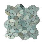 "12""x12"" Sliced Sea Green Pebble Tile"