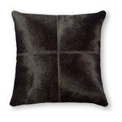 "Natural Torino Quatro Large Pillow 18""x18"", Black"