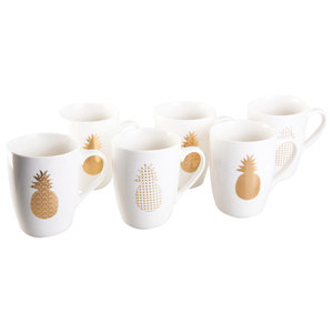 Pineapple Coffee Mugs, Set of 6
