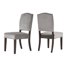 Rosalyn Velvet Shield Back Dining Chair, Set of 2, Grey