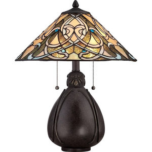 Traditional Style Tiffany Table Lamp, Bronze