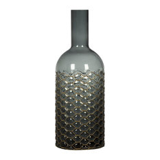"""Gray American Modern Glass Vase With Brass Neted, 11.8"""""""