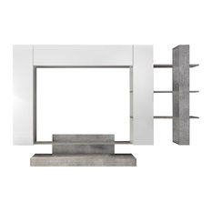 Nico 4-Piece Living Room Furniture Set With Bookcase, White and Cement