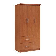 Hodedah 3 Door Armoire with 2 Drawers 3 Shelves in Cherry