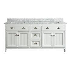 Appleby White Bathroom Vanity With Marble Top, 72''
