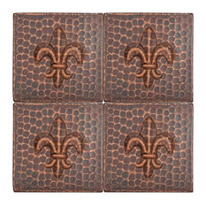 "Hammered Copper Fleur De Lis Tile, 4""x4"", Set of 4"