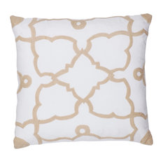 Rugsville Trellis Diamond Cotton White Beige Embroidered Pillow Cover 20""
