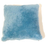"""Diseño - Sheepskin Shearling Pillows, Blue, 16"""" - Soft, lush shearling pillows in a variety of natural and dyed colors. Comes in two sizes, 14 & 20"""" squares, and imported from Argentina."""