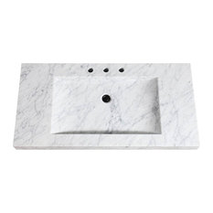 """Avanity 43"""" Stone Integrated Sink Top, Carrara White Marble"""