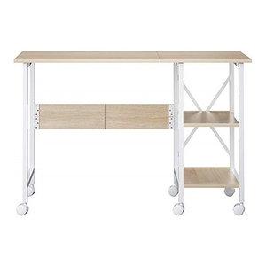 Modern Desk, Painted MDF, Drop-Leaf Top, Open Shelves and Castors Wheels Natural
