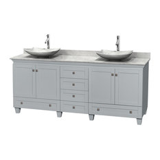 """Acclaim 80"""" Oyster Gray DBL Vanity, Carrera Marble Top, Arista Sinks, Mirrors"""