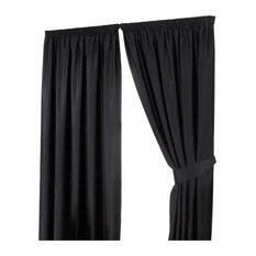 Dreamscene - Thermal Pencil Pleat Blackout Curtains, Black, 117x137 cm, 4-Piece Set - Curtains