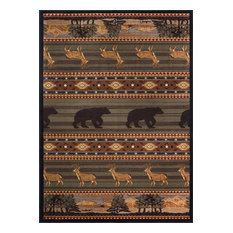 Expedition Wildlife Novelty Lodge Pattern Green Rectangle Area Rug, 8' x 10'