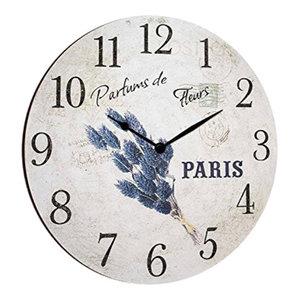 Parfumes Paris Round Wooden Wall Clock