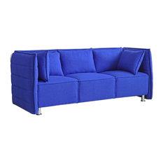 Fine Mod Imports Sofata Sofa, Black, Blue