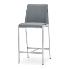 Eliza Gray Leatherette Counter Stool With Polished Stainless Steel Legs