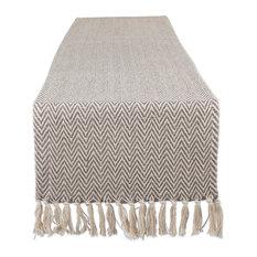 Gray Handloom Chevron Table Runner, 15x72