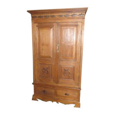 Mogul Interior - Consigned British Colonial Cabinet Reclaimed Teak Bedroom Armoire Wardrobe - Armoires And Wardrobes