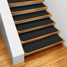 House Home U0026 More   Set Of 15 Skid Resistant Carpet Stair Treads Black,