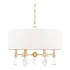 Milan 6-Light Pendant, Capital Gold White Fabric Shade, Clear