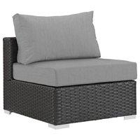 Patio Fabric Armless Chair, Canvas Gray