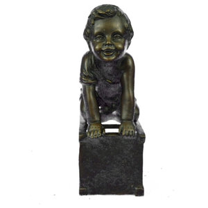 Maasai Kid Sitting On The Rock, Pewter, Ethnic Collectibles