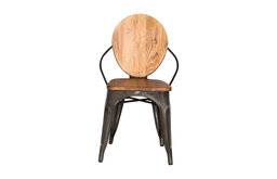 Fine Mod Imports Metal Dining Chair, Walnut