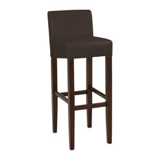 Set Of 2 Brooklyn Contemporary Wood/Faux Leather Barstool - 32-inch Bar Height Stoo