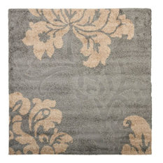 "Safavieh - Florida Shag SG458 Area Rug, Gray/Beige, 6'7""x6'7"" Square - Carpet Tiles"