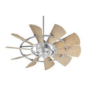 """Quorum Windmill 44"""" Galvanized With Weathered Oak Blades Patio Ceiling Fan"""