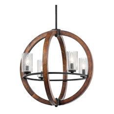 Chandelier 4-Light, Auburn Stained
