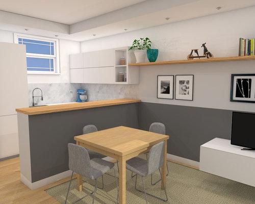 Render per un nuovo soggiorno con cucina