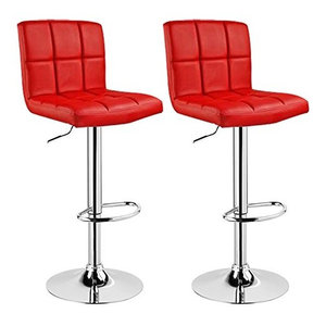 Consigned Set of 2 Bar Stools in Faux Leather with Adjustable Swivel Gas Lift, R
