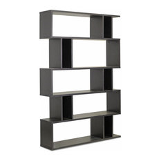 Baxton Studio - Baxton Studio Goodwin 5, Level Dark Brown Modern Bookshelf  - Bookcases