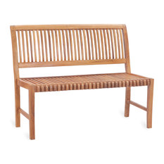 Teak Wood Outdoor Patio Castle Bench Without Arms, 4'