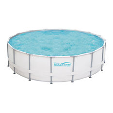 "Polygroup - Metal Frame Swimming Pool Package, 15' Round and 48"" Deep - Aboveground Swimming Pools"
