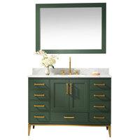 """Joy Bathroom Sink Vanity Set, White Marble Top, Green, 48"""""""