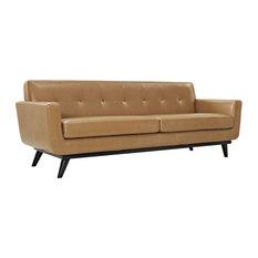 Modway - Engage Bonded Leather Sofa, Tan - Sofas