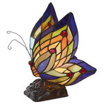 """River of Goods - 9.5"""" Stained Glass Butterfly Wings Accent Lamp - Delicate as a butterfly's wings! This colorful butterfly accent lamp brings joy and light to any d�cor with its 100 pieces of hand cut glass and 10 cabochons. Brilliant shades of purple, green, and red radiate along the wings. The butterfly sits perched on an base decorated with roses colored an antique brass. Use as an accent piece, a buffet lamp, a child's nightlight, the possibilities are endless!"""