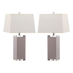 Deco Leather Table Lamp, Set of 2, Gray