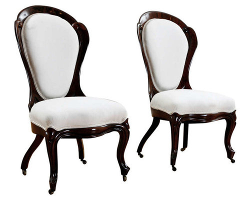 pair of slipper chairs by john henry belter in rosewood american c