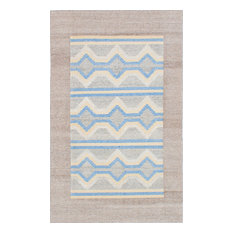 "Hand woven Tribeca M41685 Light Grey, Sky Blue Wool Kilim, 5'0""x8'0"""
