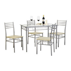 VECELO   5 Pieces Dining Table Set With 4 Chairs, Silver   Dining Sets