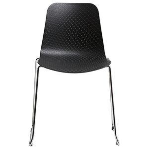 Modern Metal Leg Chair, Black