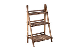 Outsunny Wooden Rustic 3-Tier Foldable Ladder Raised Plant Stand