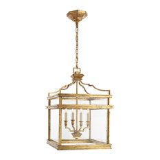 E.F. Chapman Mykonos 4-Light Foyer Pendant, Gilded Iron/Wax