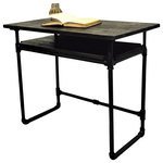 Furniture Pipeline - Berkeley Industrial Mid-Century Writing Desk, Black Steel/Dark Brown - Whether studying for finals, writing your next novel or keeping up with paperwork, this stylish mid-century designed writing desk offers the perfect platform in your home or office. It is conveniently lightweight and designed to be easily assembled and dissembled without losing quality. Reduce clutter and maximize space with this lively industrial vintage pipe desk that is equal parts of form and function. Its industrial mid-century style is sure to make this desk the centerpiece of your workspace. Crafted from aircraft grade recyclable aluminum pipes, flash plated fittings and sustainable reclaimed/aged finished solid Paulownia (lightest to strongest ratio wood species in the world) wood. It's available in three finishes to suit your style and space. With a low VOC finish, recyclable metals, sustainable wood and 100% recyclable packaging, your home and planet are sure to beam a healthy smile in approval!