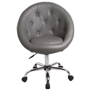 Modern Swivel Pub Bar Stool Upholstered, PU Leather With Buttoned Back