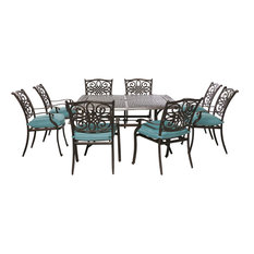 Hanover TRADDN9PCSQ Traditions Nine Piece Square Aluminum Framed, Blue